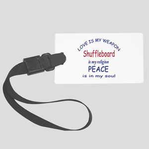 Shuffleboard is my Religion Large Luggage Tag