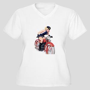 Motorcycle Girl Women's Plus Size V-Neck T-Shirt