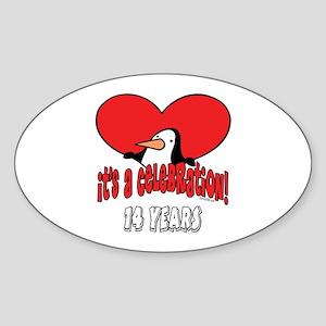 14th Celebration Oval Sticker