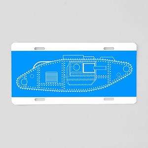 World War One Tank Blue Pri Aluminum License Plate