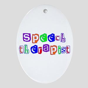 Speech Therapist Colors Oval Ornament
