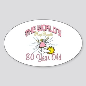 Angelic At 80 Oval Sticker