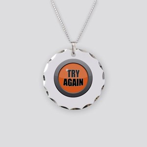 Try Again Dark Metal Icon Necklace Circle Charm