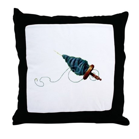 Spinning - Wool Yarn Spindle Throw Pillow