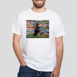 Lilies by Monet & Doberman White T-Shirt