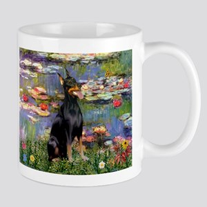 Lilies by Monet & Doberman Mug