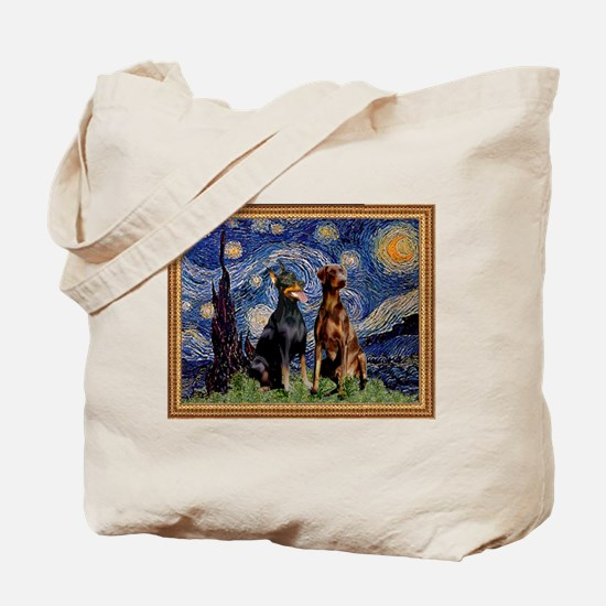 Starry Night & Dobie Pair Tote Bag