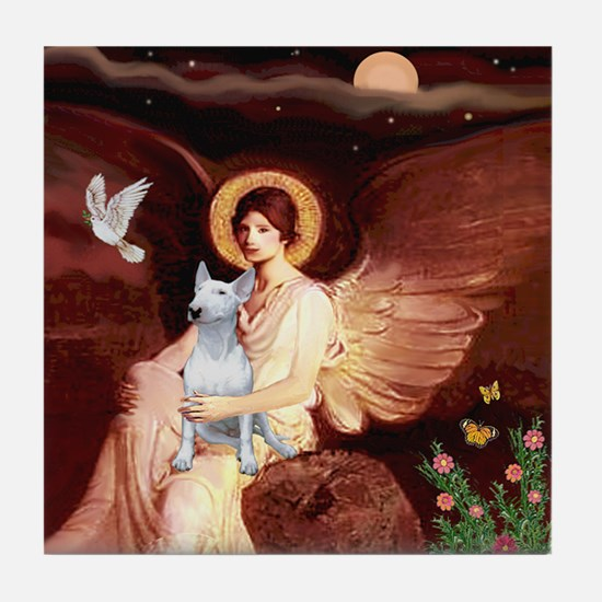 Seated Angel /Bull Terrier Tile Coaster