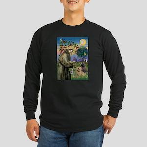 St Francis / Cairn Terrier Long Sleeve Dark T-Shir