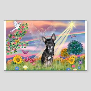 Cloud ANgel / Chihuahua (Bl-T) Sticker (Rectangula