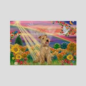 Autumn Angel & Lakeland Terrier Rectangle Magnet