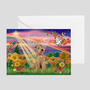 Autumn Angel & Lakeland Terrier Greeting Card