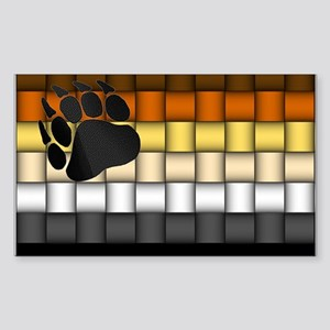BEAR PRIDE FLAG/BASKETWEAVE Rectangle Sticker