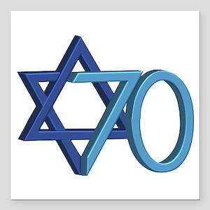 "Israel Turns 70! Square Car Magnet 3"" X 3&quo"