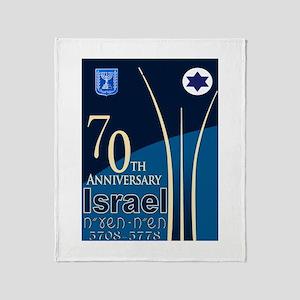 Israel At 70 Hebrew Throw Blanket