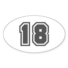 Number 18 Oval Decal