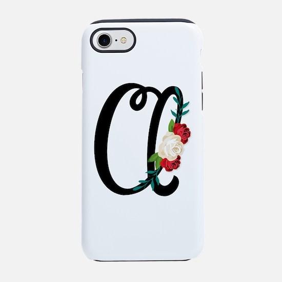Letter A with vintage floral iPhone 8/7 Tough Case