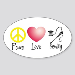 Peace, Love, Sewing Oval Sticker