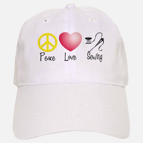 Peace, Love, Sewing Baseball Baseball Cap