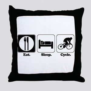 Eat. Sleep. Cycle. (Cycling) Throw Pillow