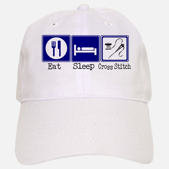 Eat, Sleep, Cross Stitch Baseball Baseball Cap