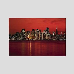 San Francisco Nighttime Skyli Rectangle Magnet