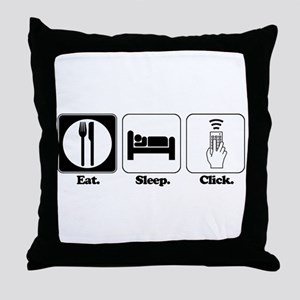Eat. SLeep. CLick. (Remote Control) Throw Pillow