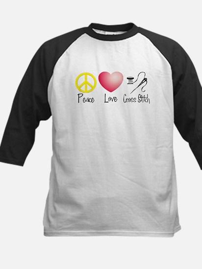 Peace, Love, Cross Stitch Kids Baseball Jersey