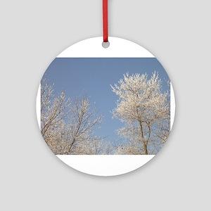 BLUE SKY SNOW TREE Ornament (Round)