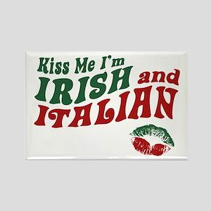 Kiss Me I'm Irish and Italian Rectangle Magnet