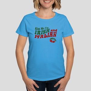 Kiss Me I'm Irish and Italian Women's Dark T-Shirt