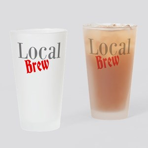 Local Brew Red Drinking Glass