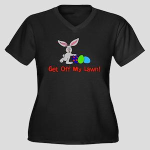 Get Off My L Women's Plus Size V-Neck Dark T-Shirt