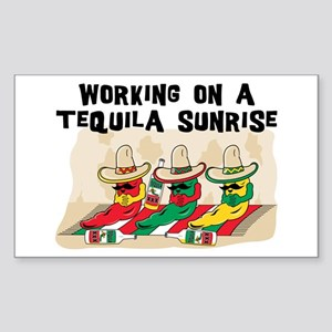 Working On A Tequila Sunrise Rectangle Sticker