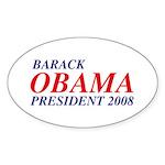 Barack Obama President 2008 Oval Sticker (10 pk)