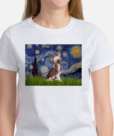 Starry Night/Chinese Crested Women's T-Shirt