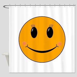 Cute Orange Smiley Gal Shower Curtain