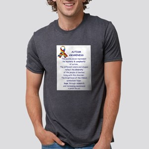 1 Sided Autism Ribbon White T-Shirt