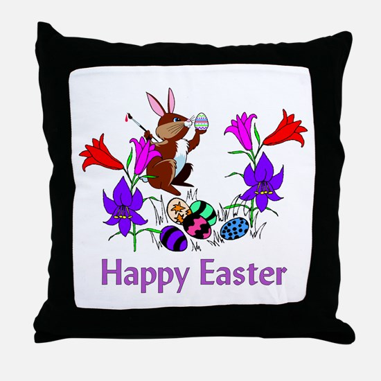 Painted Bunny Eggs Throw Pillow