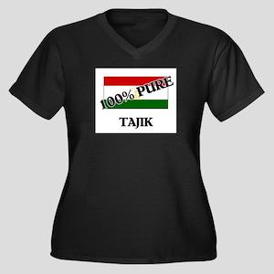 100 Percent TAJIK Women's Plus Size V-Neck Dark T-