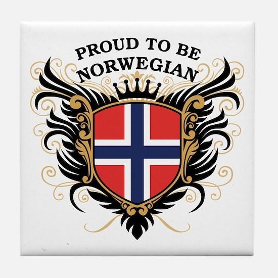Proud to be Norwegian Tile Coaster