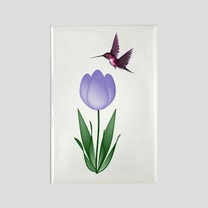 Tulip and Hummingbird Rectangle Magnet