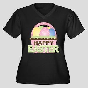 Happy Easter Basket Women's Plus Size V-Neck Dark