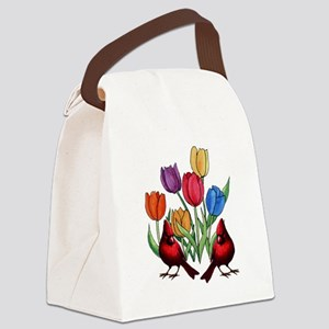 Tulips and Cardinals Canvas Lunch Bag