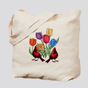 Tulips and Cardinals Tote Bag