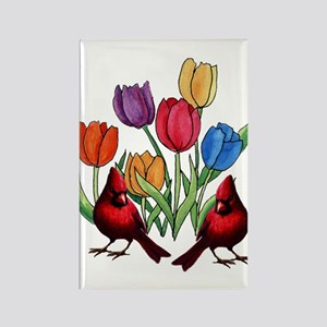 Tulips and Cardinals Rectangle Magnet