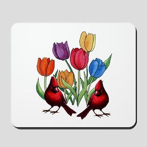 Tulips and Cardinals Mousepad