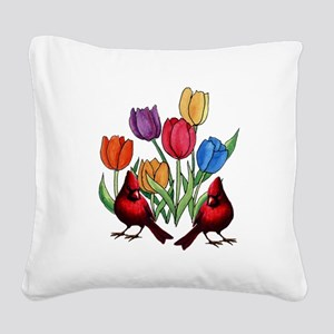 Tulips and Cardinals Square Canvas Pillow