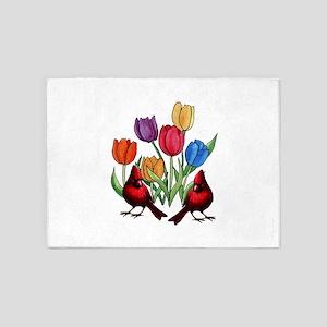 Tulips and Cardinals 5'x7'Area Rug