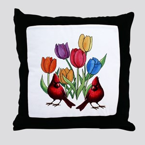 Tulips and Cardinals Throw Pillow